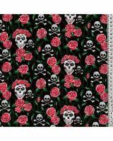 Red /& Black skulls /& cross swords Fabric POLYCOTTON 150cm wide PER HALF METRE