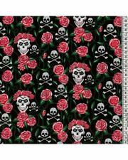 """Skull & Crossbones Roses Red Polycotton 44"""" Per Metre FREE DELIVERY"""