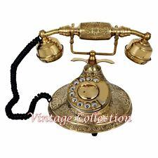 Vintage Brass Rotatry Dial Phone Retro Style Antique Telephone Collectible Decor