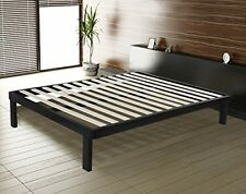Queen Sleeping Bed Frame Bedroom Furniture Base Platform Metal and Wood Slate