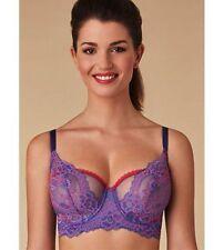 Passionate Women's Flower Half Cup Bustier Bra Lavender Size 32D $64 LD615