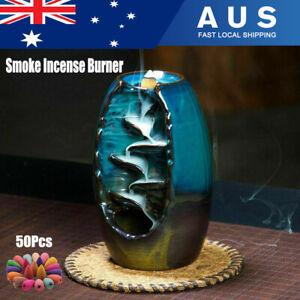 Backflow Ceramic Mountain Waterfall Smoke Incense Burner +50 Cone Fragrances Bl