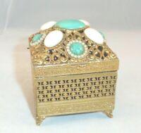 Vtg Florenza Ormolu Trinket Jewelry Box Casket Blue Green Cabachons Faux Pearls