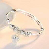 Women Charm Jewelry 925 Sterling Silver Plated Cuff Bangle Bracelet Fashion Gift