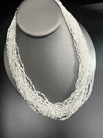 Vintage Boheniman White Glass Seed Bead Multi Strand Long Necklace Boho 18""