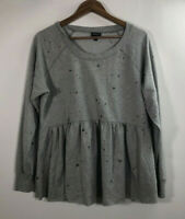 Torrid Women's Size 0 Lace Hem Long Sleeve Sweater Gray Blouse Top Long Sleeve