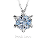 Blue Rhinestone Winter Snowflake Pendant S925 Sterling Silver Women Necklace UK
