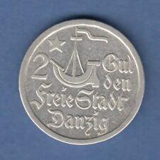 Danzig Silber-Kursmünze Kogge 2 Gulden 1923 vorzüglich !
