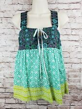 Free People Cotton Top Tiered Embroidered Lace Up Back Boho Small