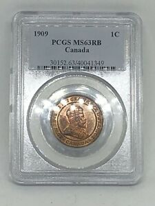 1909 CANADA 🇨🇦 LARGE 1 CENT COIN PCGS MS63 RB Red Brown
