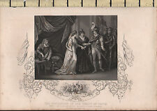 c1830 ANTIQUE PRINT ~ CONCLUSION OF TREATY OF TROYE HENRY V PRINCESS OF FRANCE
