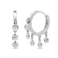 Dangle Bezel Shaker Hoop Huggie Earring 0.16Ct 14K White Gold Round Real Diamond