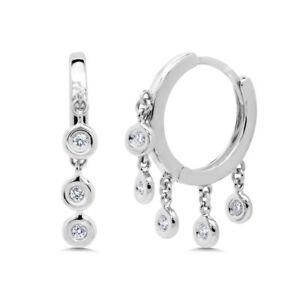 0.16CT 14K White Gold Round Real Diamond Dangle Bezel Shaker Hoop Huggie Earring