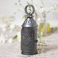 Revere small punched antiqued tin candle Lantern w/Candle