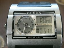 OHSEN mens AD0920 digital double faced rectangle wrist watch tri screen grey
