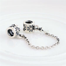 SAFETY CHAIN w DAISIES .925 Sterling Silver European Charm