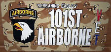 101st Airborne 'Screaming Eagles' on a Camo Aluminum License Plate Made in USA