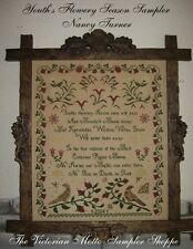Youths Flowery Season antique sampler style,cross stitch chart,10pg,color&symbls