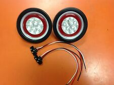 """2 RED LED 4"""" Round Grommet Mount Truck Trailer Stop Tail Turn Lite W/ CLEAR LENS"""