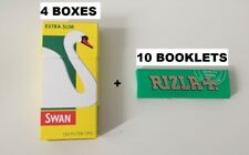 10 BOOKLETS RIZLA GREEN ROLLING PAPERS & 4 BOXES SWAN EXTRA SLIM FILTER TIPS NEW