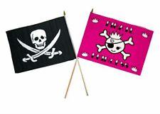 "12x18 12""x18"" Wholesale Combo Pirate Calico Jack & Pink Princess Stick Flag"