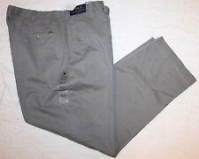 Polo Ralph Lauren Big and Tall Mens Gray Flat-Front Chinos Pants NWT 44 B x 30