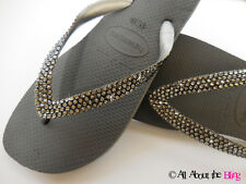 Crystal flip flops Havaianas sandal dark grey with SWAROVSKI Black Diamond