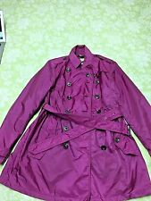 Burberry Brit Trench Coat Magenta Small Size 10 Beautiful Must See