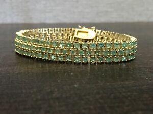 Sterling Triple Row Peridot Tennis Bracelet