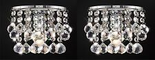 Pair of Single Wall Light In Chrome With Stunning Crystal Ball Droplets 1x60W