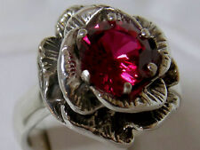 red ruby flower antique 925 sterling silver ring size 10 USA made