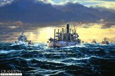 signed Merchant Naval Art Print Oil Tankers Murmansk Russian Convoy