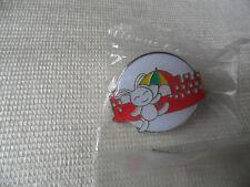 humourous white rabbit with umbrella pin lapel badge