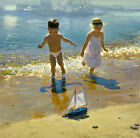 Nice Oil painting little girl and boy playing by beach with toy sail boats
