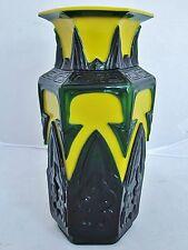 """9.2"""" Chinese Green & Yellow Peking Glass Archaic Style Hexagon Vase"""