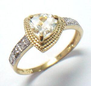 SYJEWELLERY 9CT YELLOW GOLD TRILLION NATURAL AQUAMARINE & DIAMOND RING SZ M R914