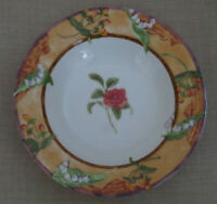 """Lot of 4 ~ 222 Fifth Tuscany Rose ~ Rimmed SOUP Bowls 9 3/8"""""""