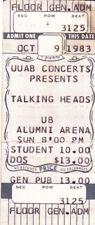 Talking Heads-Concert Ticket Stub-Buffalo, Ny-10/9/83-Free Shipping