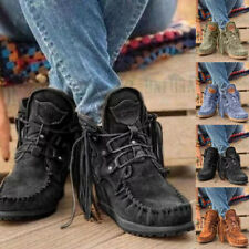 Womens Low Heel Tassel Cowboy Boots Ladies Flat Heels Ankle Boots Lace Up Shoes