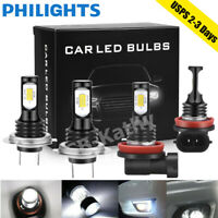 9005+9006 Combo LED Headlight Hi-Low Beam Fog Light 6000K White 100W 28000LM Kit