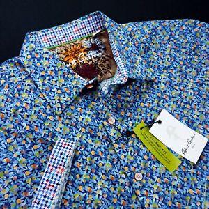 Robert Graham Floral Fruit Tree Print Short Sleeve Geometric Houndstoot Shirt