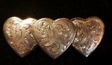 Beautiful Silver Tone Triple Heart Hair Clip Made In France