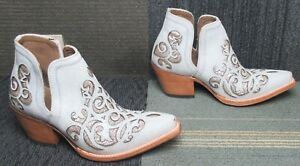 Wmns ARIAT Dixon Crackled White Western Leather Ankle Boots 8 B ~ Excellent