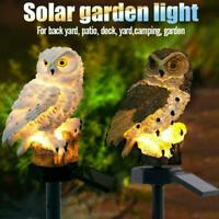 Solar Garden Lights Owl Ornament Animal Bird Outdoor LED Decor Sculpture New