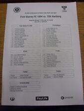 26/04/2013 Teamsheet: First Vienna v TSV Hartberg. Any faults with this item hav