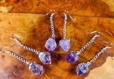 Amethyst Earrings - Purple Crystal Point - Silver Dangle Earring Hooks (LR18)
