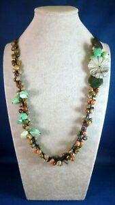 """NEW Carved stone FLOWER & turquoise agate beads Hand-crocheted Necklace 28"""" -36"""""""
