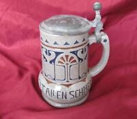 VINTAGE GERMAN CERAMIC BEER PINT POT MUG w/METAL LID MARKED