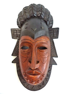 African Tribal Art Mask Wall Hanging Decor Large 14 1/2''