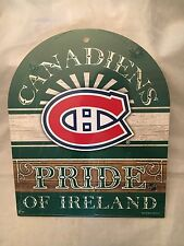 Montreal Canadiens NEW Wooden Pride of Ireland Decor Sign . NHL Hockey Gift Wood